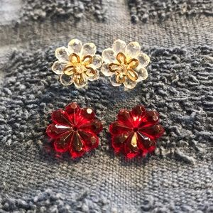 Avon 6-in-1 Poinsettia Floral Earrings with CZ